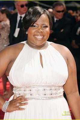 Amber Riley Plus Size White Chiffon Red Carpet Prom Dress Evening Formal Gown At 62nd Primetime Emmy Awards.