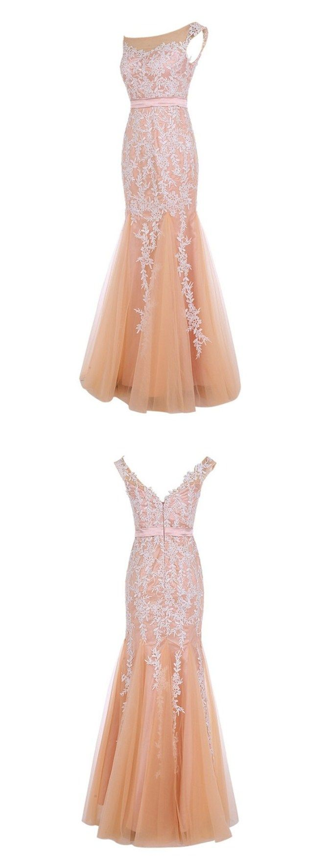 Charming Prom Dress, Scoop Cap Prom Dress, Sleeveless Floor-Length Prom Dress, Champagne Prom Evening Dress with Lace