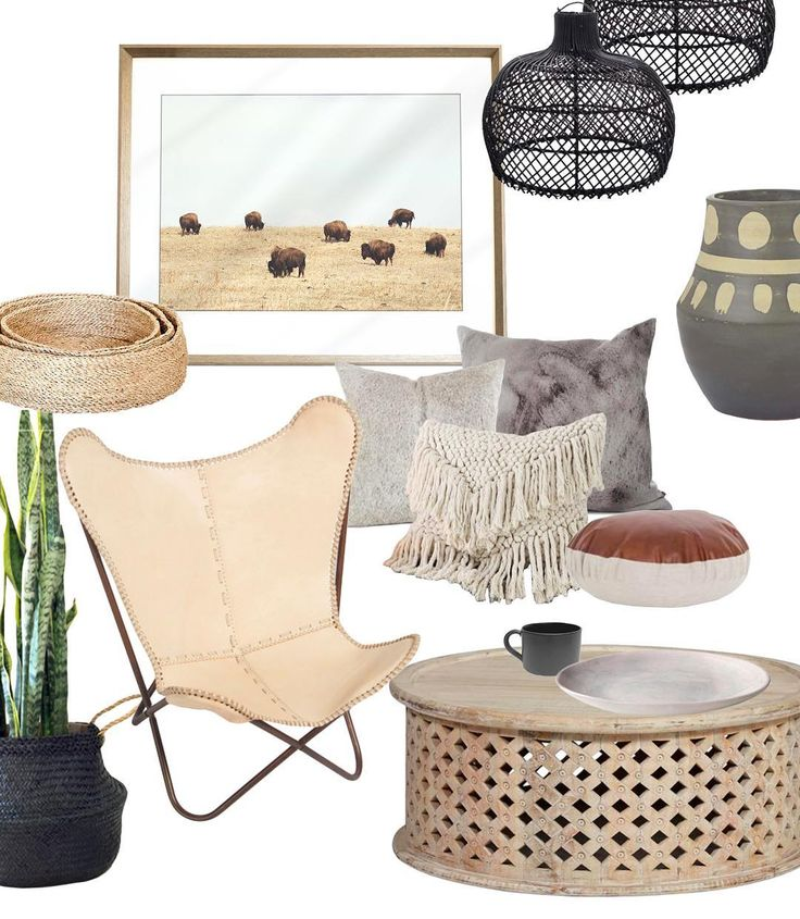 Modern tribal x relaxed Bohemian style Moodboard // [ Instagram: @karibouartco ]