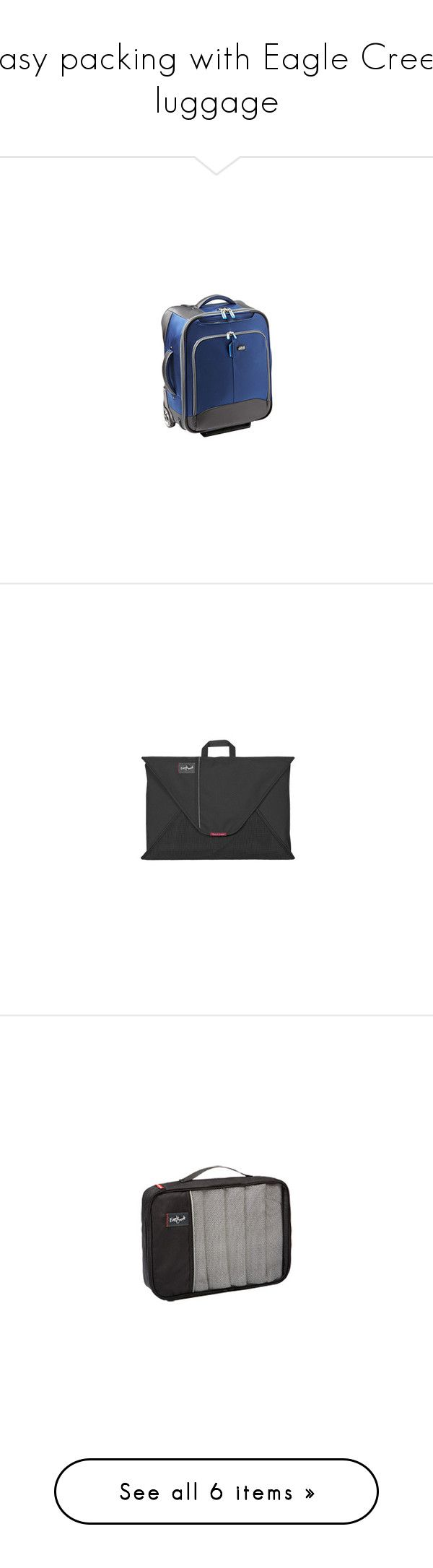 """Easy packing with Eagle Creek luggage"" by missioncloset ❤ liked on Polyvore featuring bags, luggage, home, home decor, eagle creek, black home decor, handbags, tote bags, brown tote handbags and blue handbags"
