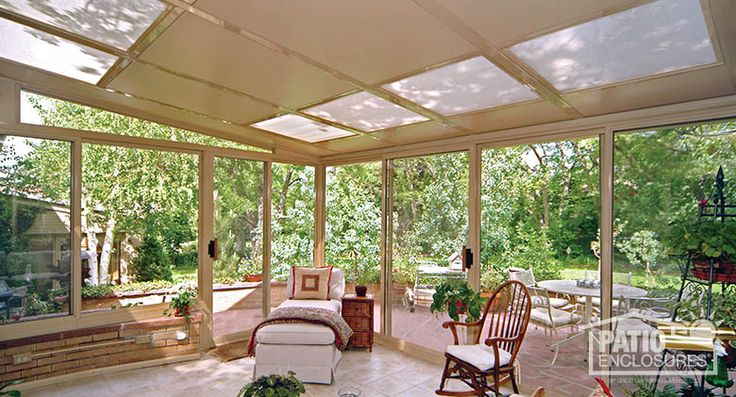 Sandstone Aluminum Frame Three Season Room with Glass Roof Panels  - - love the glass roof panels!