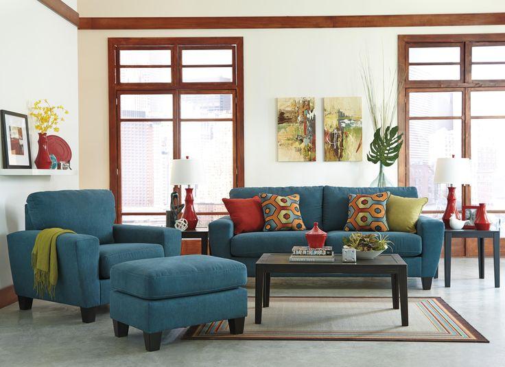Ashley Furniture sagen teal living room
