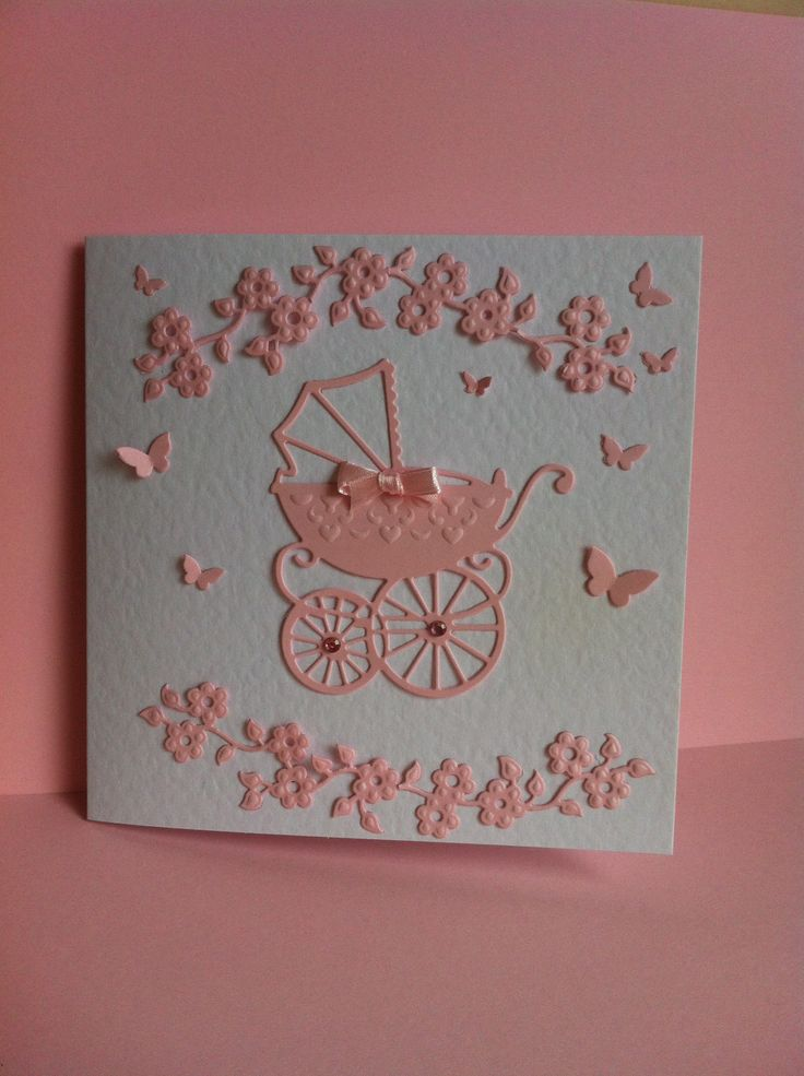 Pink baby card with Marianne dies