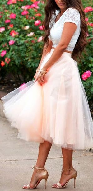 Adorable! Soft peach toned tulle with a white crop top and nude heels...romantic and fun