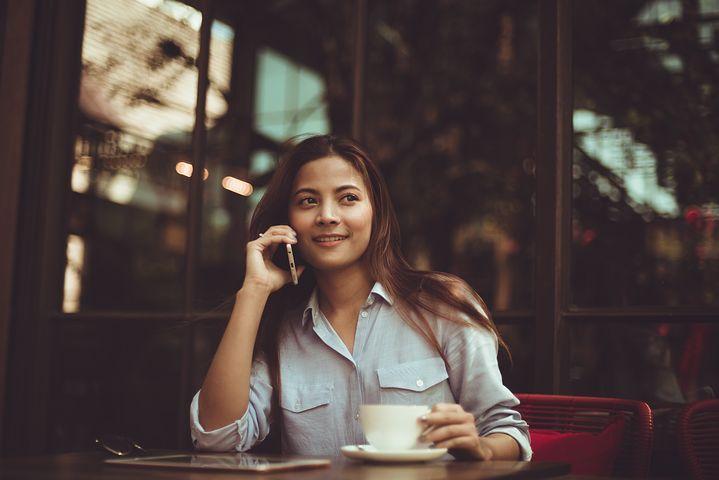 人, 女性, 呼び出す, ショップ, コーヒー, カフェ, レストラン