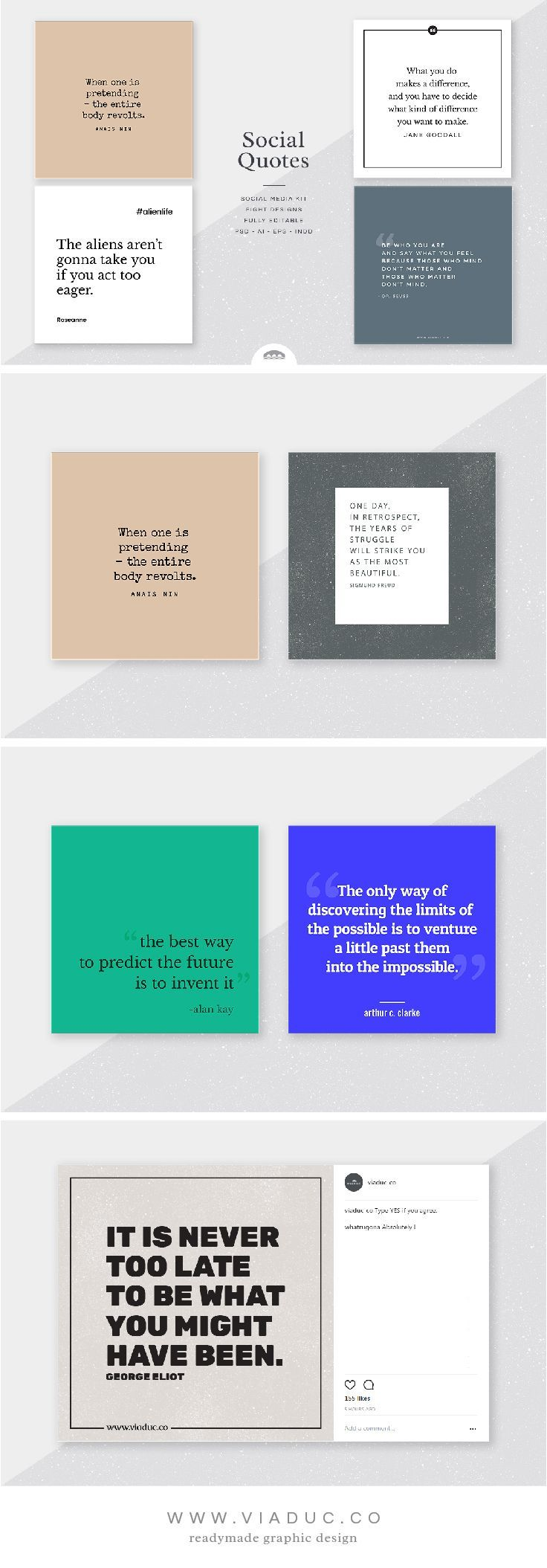 The Quotes Kit is a selection of typographic design templates in a variety of elegant, stylish and contemporary font styles. Use these designs to express yourideas, promote your business, or make an impression on social media � whether you are a blogger