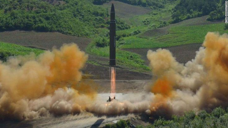 epa06064782 A handout photo made available by the official North Korean Central News Agency (KCNA) allegedly shows the North Korean inter-continental ballistic rocket Hwasong-14 being launched at an undisclosed location in North Korea, 04 July 2017. According to media reports, North Korea launched a ballistic missile on 04 July, that flew around 930km towards the Sea of Japan. The missile fell into Japan's exclusive economic zone in the Sea of Japan, according to Japanese Chief Cabinet Secre