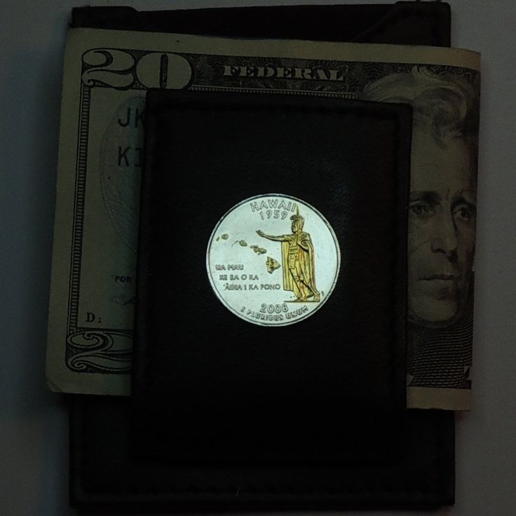 Hawaii Statehood Quarter - Gorgeous 2-Toned Gold on Silver Coin - Folding money clips