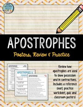 Apostrophes (Possessive / Contractions) - This package will help your students review how to use apostrophes with possessive singular and plural nouns and review apostrophes in contractions.Includes 8 pages:- Student reference sheet- One student worksheet- Quiz- 3 classroom posters for each use of the apostrophe- Answer keys for worksheet and quizJust print and go!Addie Williams, Addie Education, Grammar, Nouns