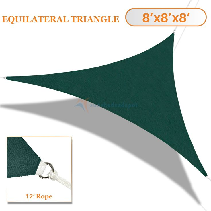 Sunshades Depot 8'x8'x8' Sun Shade Sail Equilateral Triangle Permeable Canopy Dark Green Customize Size Available Commercial Standard