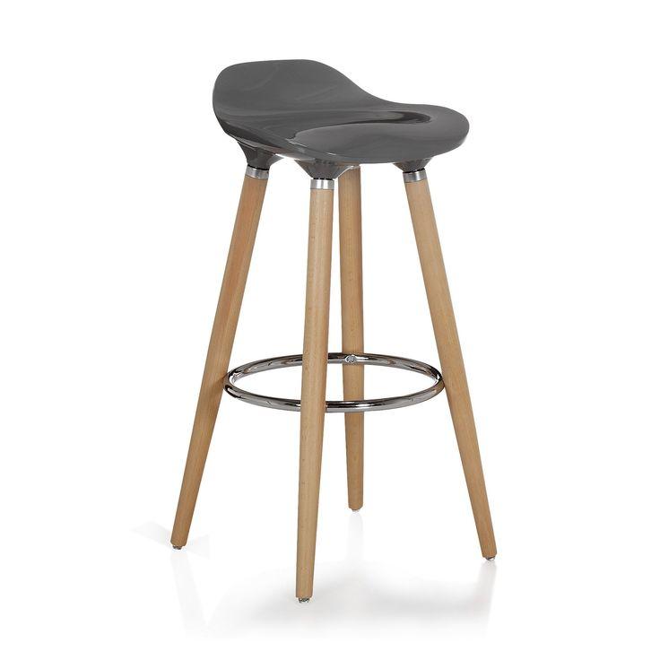 Tabouret de bar gris avec pieds en hêtre massif Gris - Jade Tabouret - Tabourets hauts - Tables et chaises - Salon et salle à manger - Décoration d'intérieur - Alinéa 79 Euros