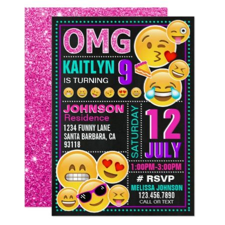 Emoji Pink Glitter Birthday Invitation - click to get yours right now!