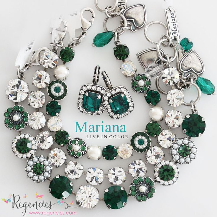 Get your green on with our new Mariana bracelets in gorgeous green emerald with clear Swaroski and pearls. Available at: https://www.regencies.com/collections/mariana-jewelry