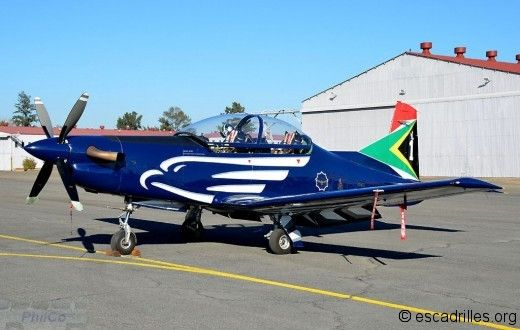 Pilatus PC7 MkII trainer, of Major Sproul, leader of the Silver Falcons, South African Air Force display team.