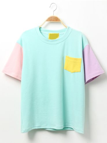 #AdoreWe #ROMWE T-shirts - Designer ROMWE Color-block T-shirt With Pocket - AdoreWe.com