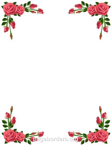 Printable pink rose border. Use the border in Microsoft Word or other programs for creating flyers, invitations, and other printables. Free GIF, JPG, PDF, and PNG downloads at http://pageborders.org/download/pink-rose-border/: