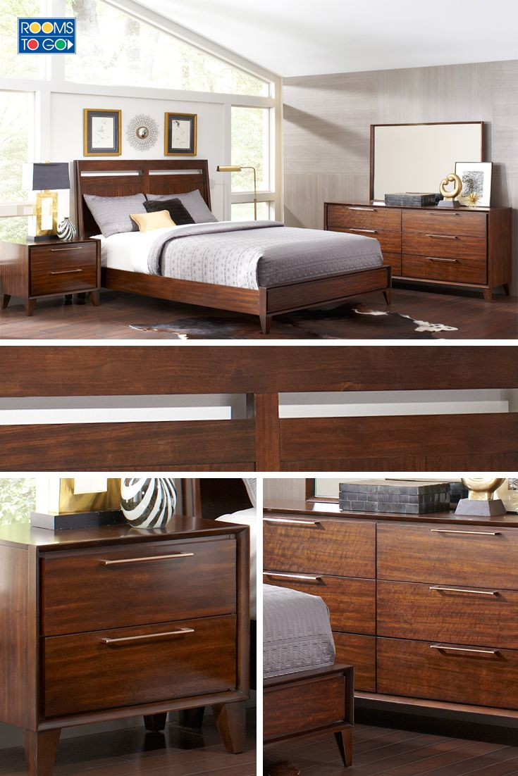 Cortinella Cherry 3 Pc Queen Sleigh Bed: A Stunning Sleigh Style Bed With Modern Cutout Detailing