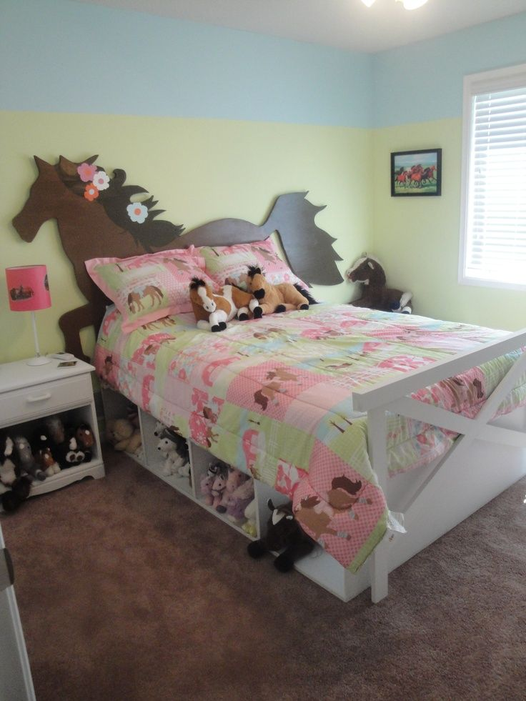 Equestrian kid's bedrooms. Horse Bed  Horse headboard, fence footboard, and under-bed storage. #maderemade #horsebed #horse #horse bed