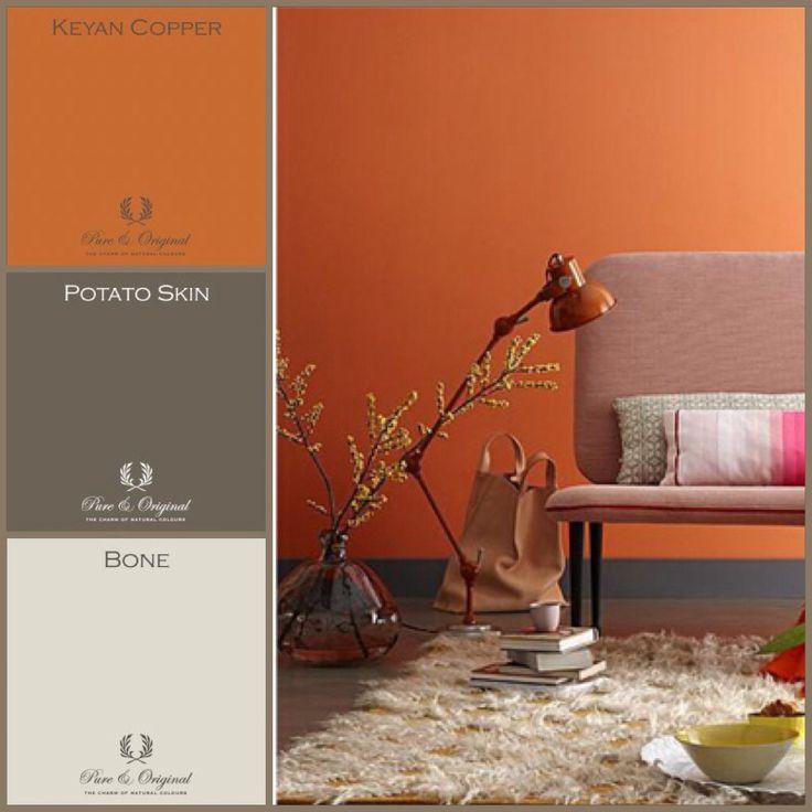 Warme oranje kleur mooi te combineren met warme grijs tinten