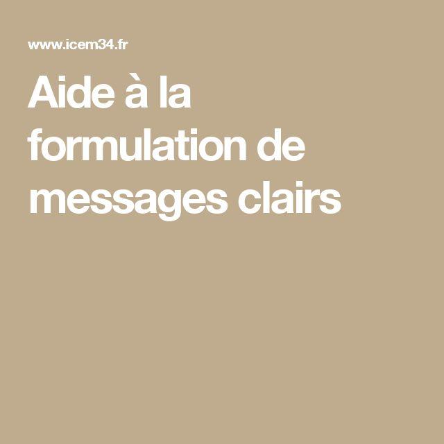 Aide à la formulation de messages clairs