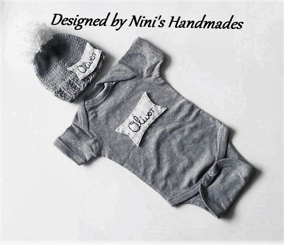 Knit Personalized GREY Baby hat and Bodysuit by NinisHandmades