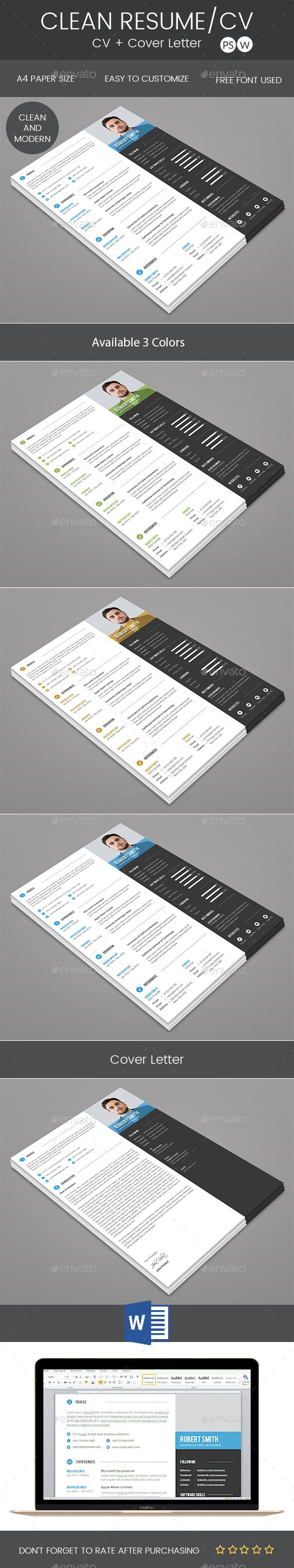 Clean Resume & Cover Letter #psd template #300dpi  • Download here → https://graphicriver.net/item/clean-resume-cover-letter/20948442?ref=pxcr