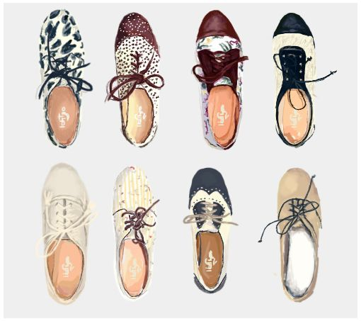 Love these shoes reinterpreted through illustration.  Carolina Astaburuaga Shoe Illustration (interpretation)