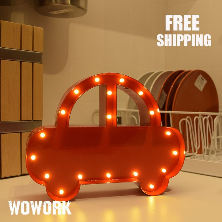 ==> [Free Shipping] Buy Best Car Vintage Marquee Lights Battery Powered Illuminated Signs Room Decorative Light Up Mini Metal Sedan Car Lamp Christmas Lights Online with LOWEST Price | 32820295743