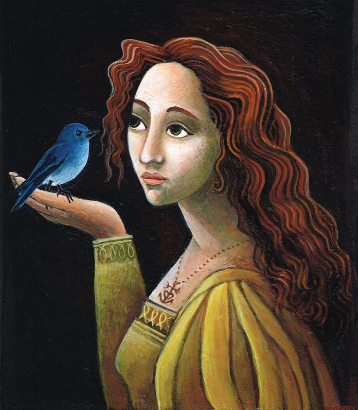 Anna et l'oiseau (Anna and the Bird) egg tempera on board, 2012, private collection, USA.