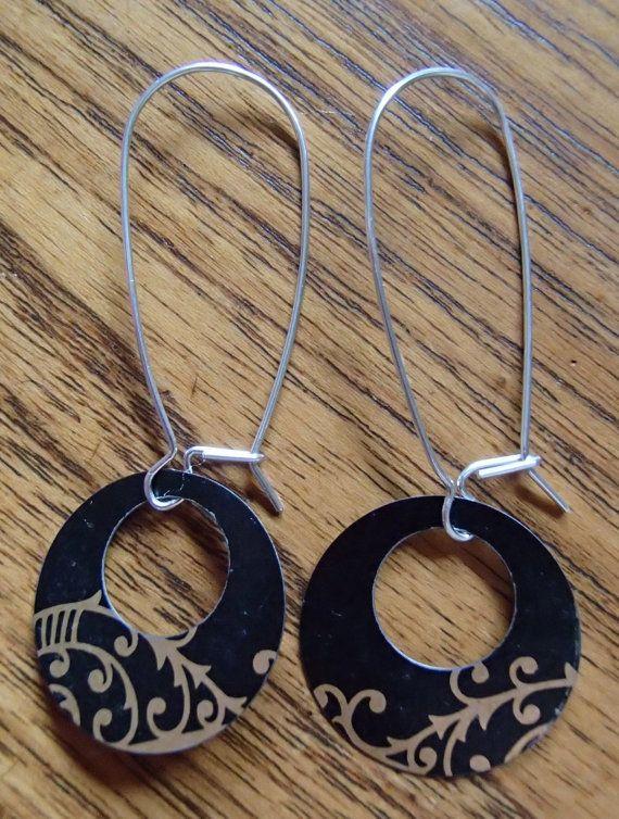 Black & Gold recycled metal earrings