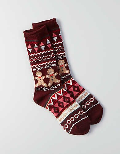 AEO Gingerbread Fairisle Crew Socks, Burgundy | American Eagle Outfitters