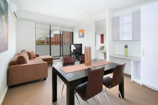 26/23 Irwell Street, St Kilda, Melbourne. North facing with fantastic light it includes a fully equipped open plan kitchen featuring new appliances overlooking the dining and lounge. Stylishly furnished, this area is the perfect place to relax and enjoy your homemade espresso coffee. TV with Foxtel is included along with blue ray player, and a compact stereo system. Or you can take advantage of the terrific views of St Kilda from the large balcon