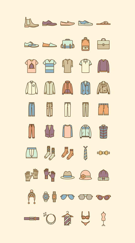 신발 셔츠 벨트 등 우리가 입는 옷이나 악세사리를 아이콘화 시켜놓으니까 한눈에 보기좋은 것 같다. 시각디자인이나 웹디자인 쪽에서는 참고하거나 연습하는데 좋을 듯.