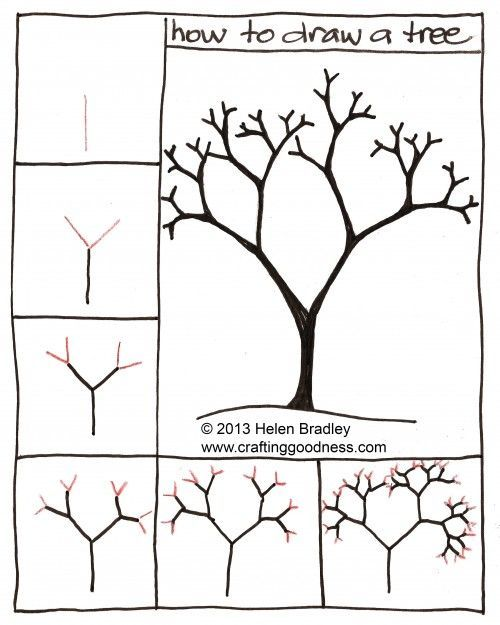 """How to draw a tree step by step. This tutorial makes so much sense! Nice for a """"through the seasons"""" project, like with """"Seasons of Arnold's Apple Tree""""."""