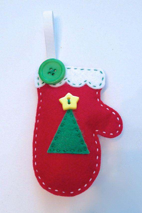 DIY Christmas Tree Felt Mitten Ornament KIT di PolkaDotCreek