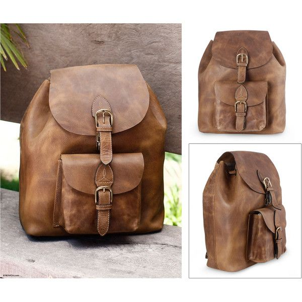 Novica Leather backpack, The Highroad - Brown Leather Travel Backpack
