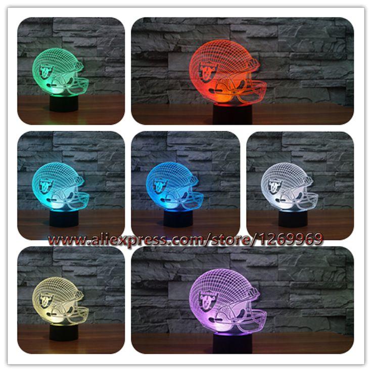 lamparas de mesa infantil noche moderm Boy Oakland Raiders Football Cap 7 Color Change LED Gradient Nightlight Illusion Light