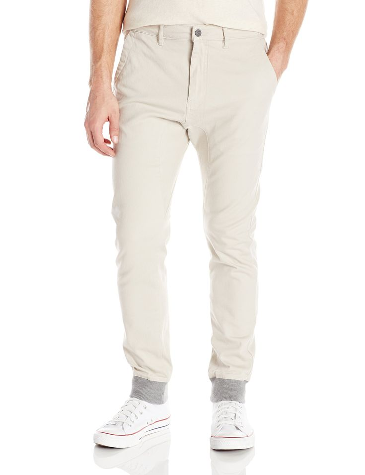 Zanerobe Men's Dynamo Chino Jogger Pant with Knit Cuff, Taupe, 30
