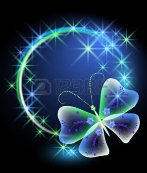 feu d artifice FLEUR: Arrière-plan éclatant avec papillon et stars