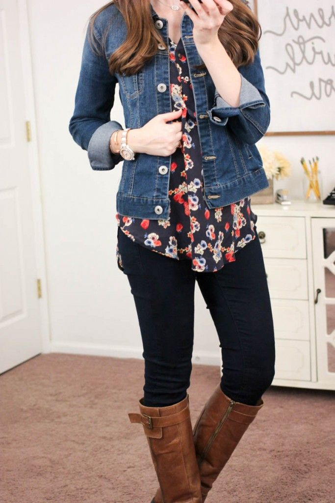 Alessandro Silk V-Neck Blouse from Amour Vert For Stitch Fix & Jalie Denim Jacket from Liverpool - January Stitch Fix  I love the top and pants.  I already have a denim jacket.