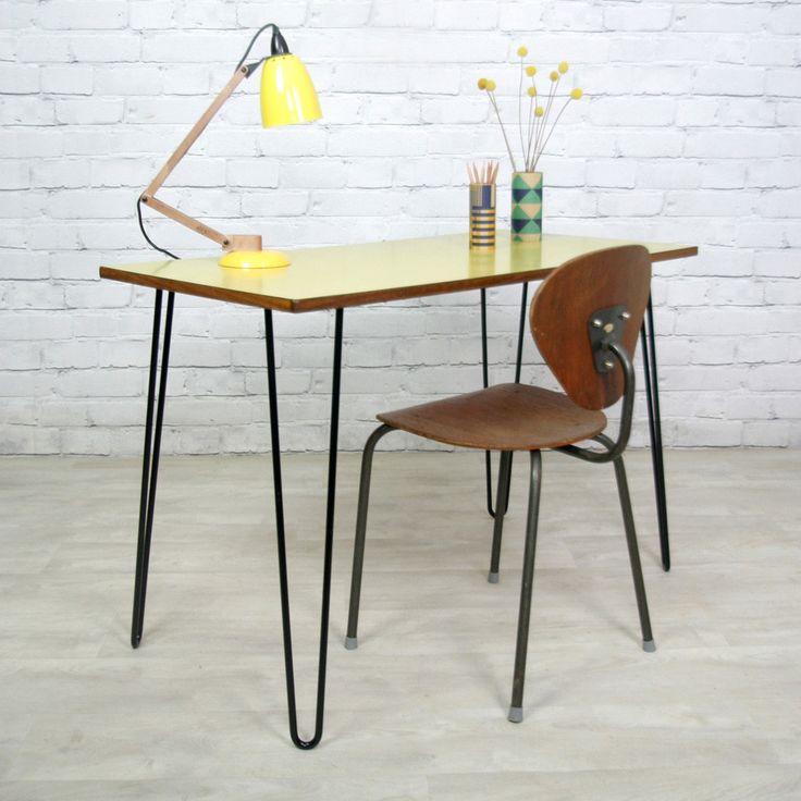 Vintage School Formica Hairpin Leg Desk/Table