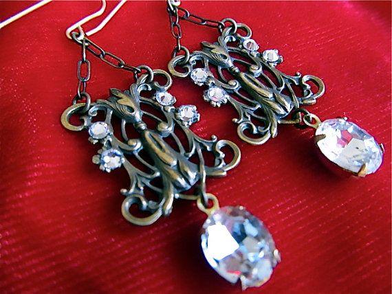 Art Nouveau Earrings 1920s Earrings Art Deco Earrings Filigree Earrings Clear Bridal Earrings Crystal Earrings- Dancing Lilies
