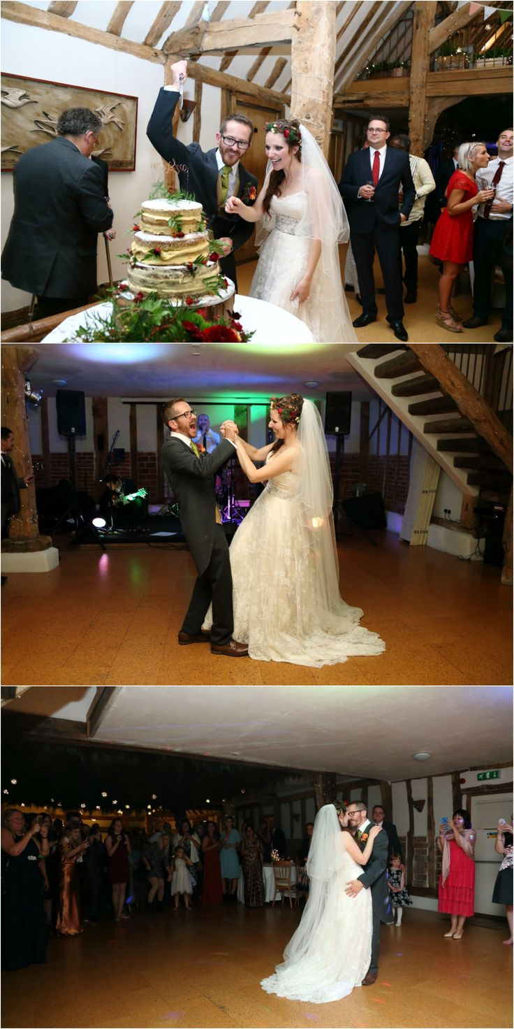 cutting cake and first dance, lots of fun at rustic, autumnak wedding at Moreves barn, Suffolk