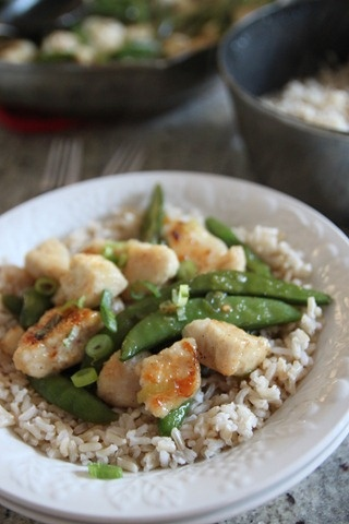 orange ginger plum chicken with snap peas (made with bonne maman plum ...