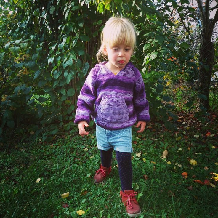 Violet hand knitted hoodie for girl or boy organic child