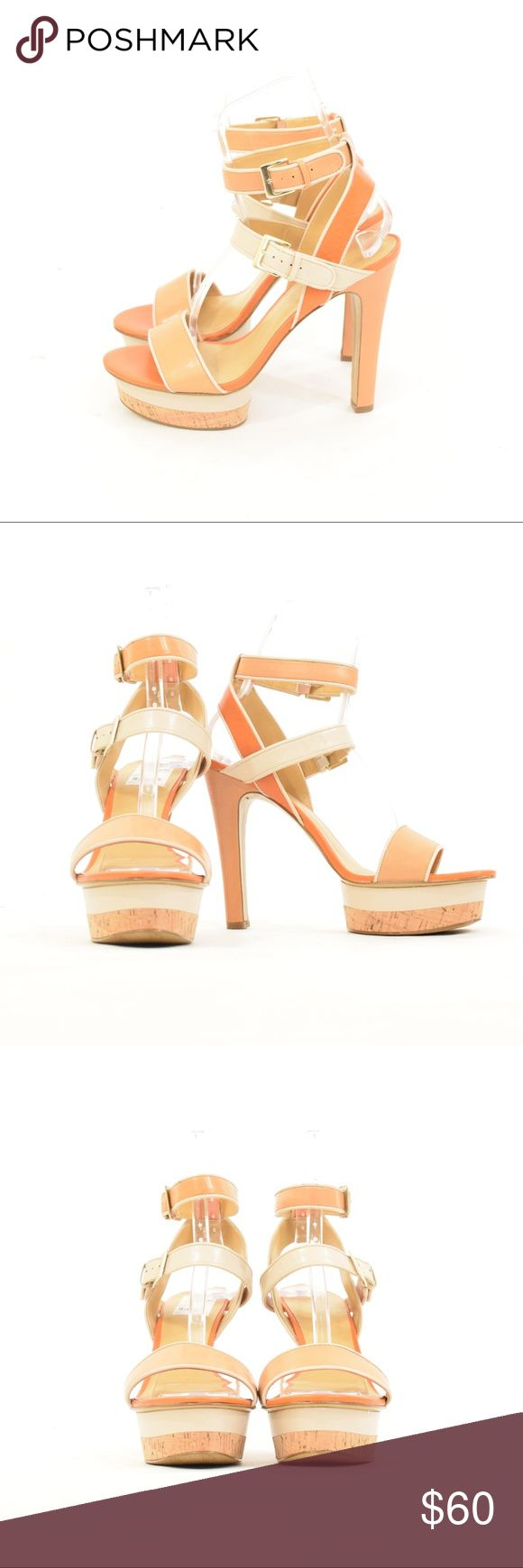 NWT Nine West Cork Platform Ankle Strap Heels Perfect spring/summer pumps from Nine West. These are brand new with tags - but no box. Soft beige leather with white piping and a light orange bottom and strap. Cork platform at the bottom. Ankle-straps. Size 11. Nine West Shoes Heels