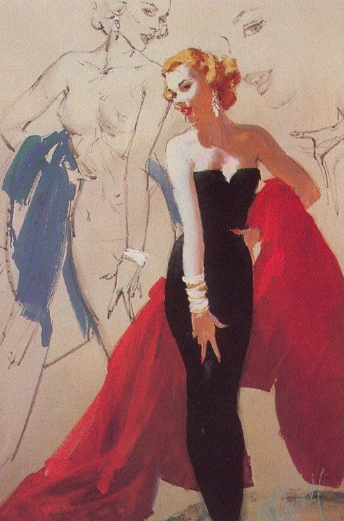 Blonde in Black Sheath Formal and Red Stole - 1959 artwork by Al Buell.