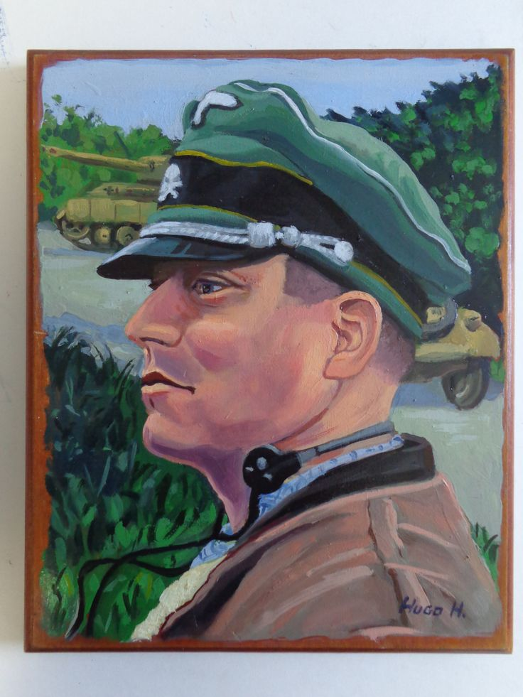 """June 1944"" Oil on Wood, 8"" x 10"" 2014 Commissioned painting  - WWII Re-enactor portrait."