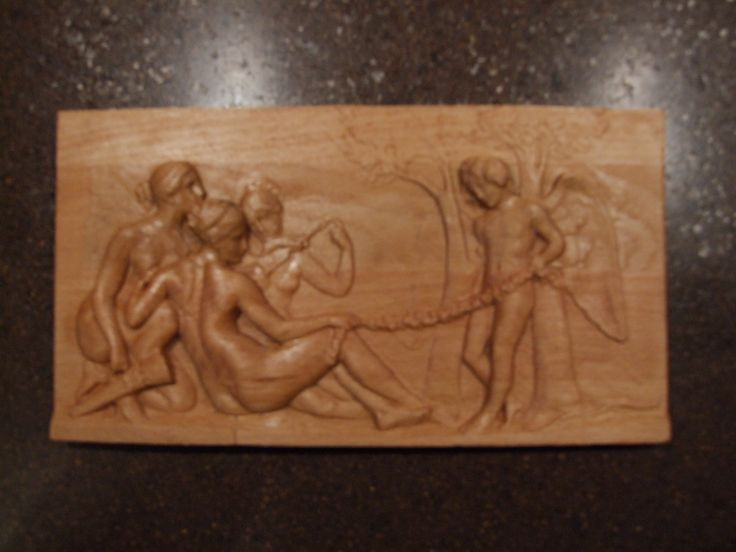 """Carved wooden picture """"Cupid and nymphs"""". Ready for shipping. Size 20 * 250 * 135 mm. $35.00"""