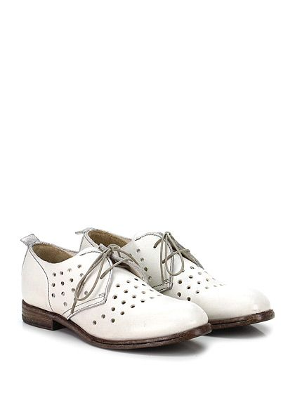 MOMA - Scarpa bassa - Donna - Scarpa bassa in pelle effetto vintage con suola in cuoio e gomma. Tacco 20, interno sfoderato. - BIANCO - € 243.00